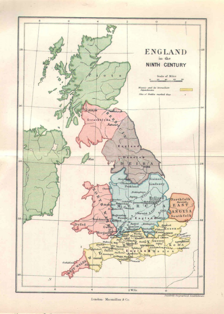 Map 10th Century England
