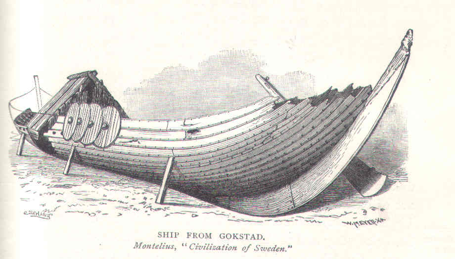 19th Century drawing Gokstad ship