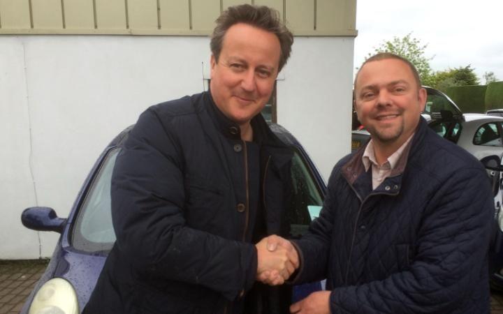 Iain Harris Car salesman selling car PM Cameron