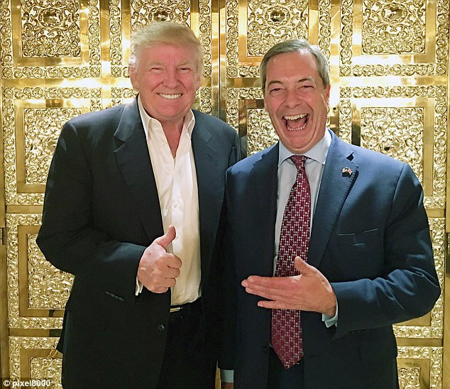 Trump and Farage gold door