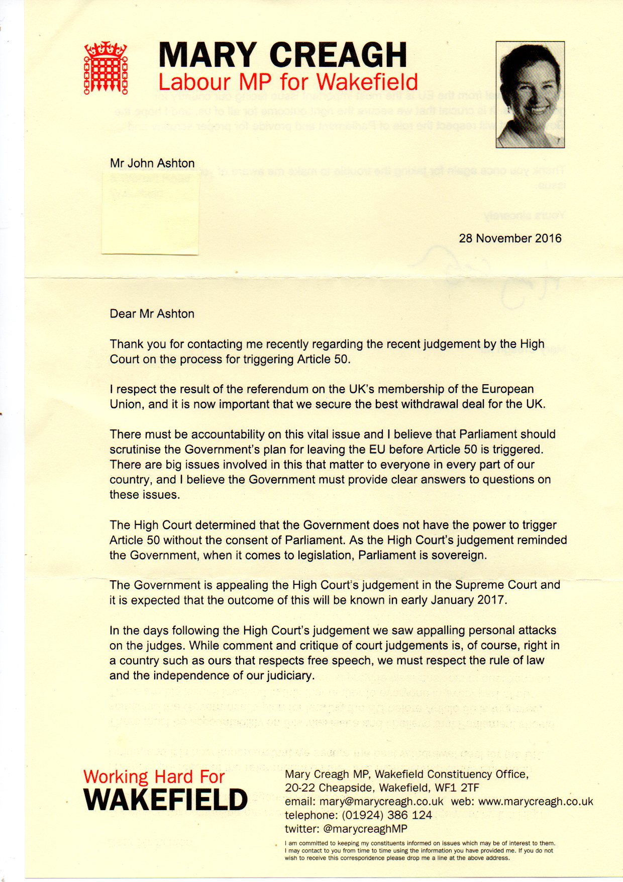 House of Commons reply letter