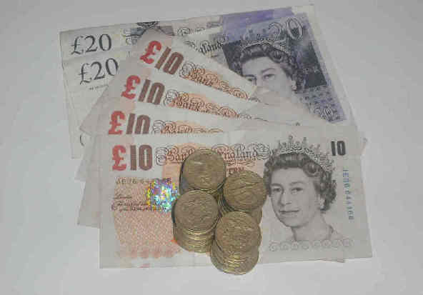 Sterling money. pounds