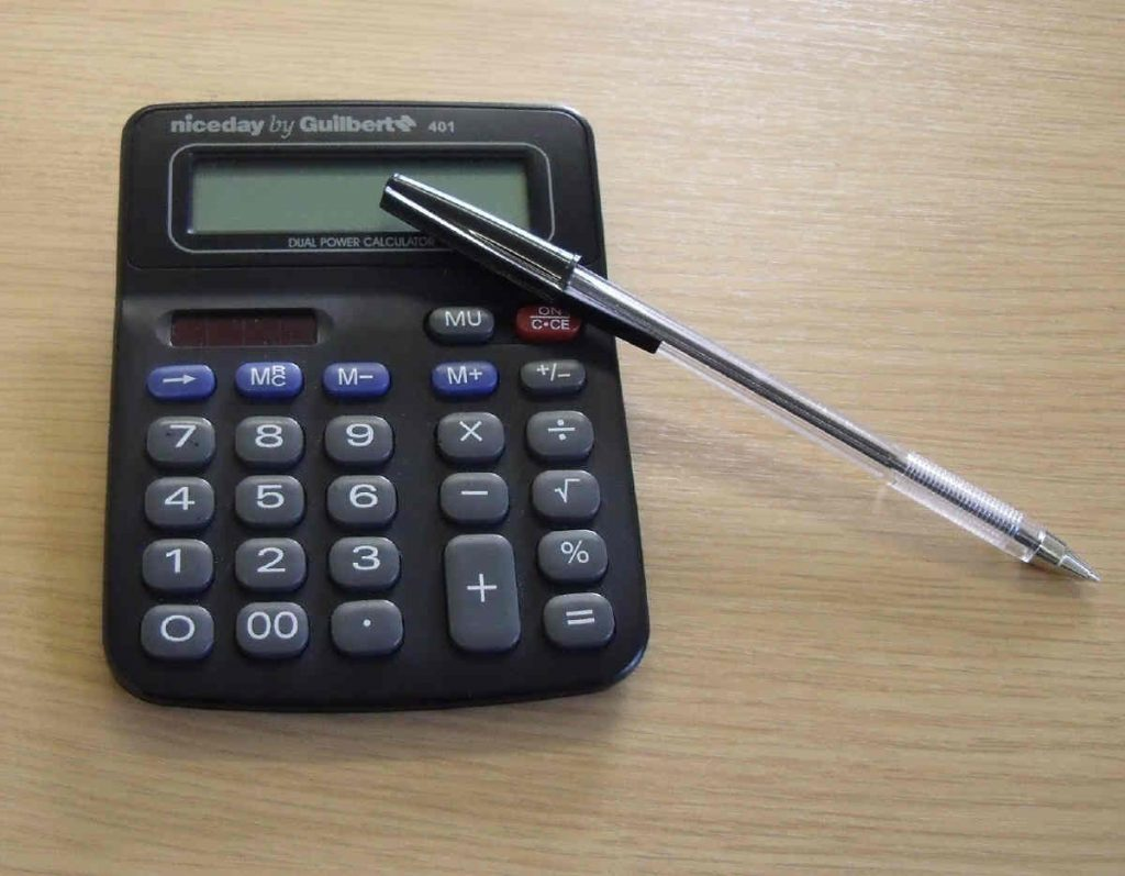 Typical desktop office calculator