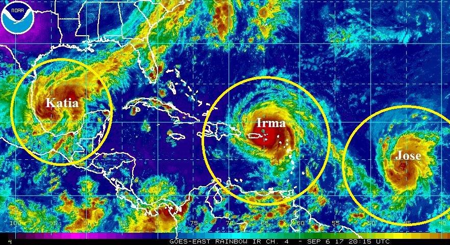 3 Hurricanes Irma, Jose, Katia